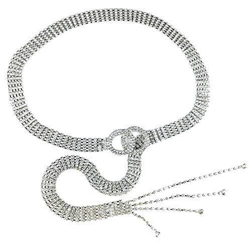 Milya Strass Gürtel für Damen - Eleganter Taillengürtel Taillenkette Kettengürtel Bauchkette aus Metall - Ideal für Kleid (Silber)
