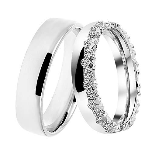 DOOSTI Trauringe/Partnerringe Crown Silber 925 rhodiniert – inkl. Gratis Gravur