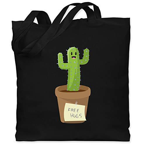 Shirtracer Statement - Free Hugs Kaktus - Unisize - Schwarz - jutebeutel kaktus - WM101 - Stoffbeutel aus Baumwolle Jutebeutel lange Henkel
