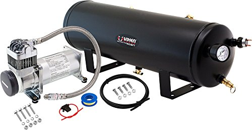 Vixen Horns 3 Gallon (12 Liter) Train/Air Horn Tank with 200 PSI Compressor Onboard System/Kit 12V VXO8330