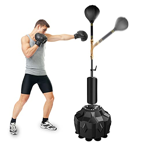 Wodesid Free Standing Reflex Punching Balls for Boxing, Height Adjustable Punching Bag Stand, Hand Pump for Teens Kids Adults, Pedestal Reflex Bag Freestand (Strong and Thick Spring)
