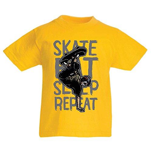 T-Shirt pour Enfants Eat-Sleep-Skate-Repeat pour Les Amateurs de Skateboard, Les Cadeaux de Skateboard, Les vêtements de Skateboard (7-8 Years Jaune Multicolore)