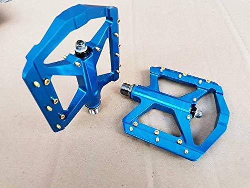 Denkqi El Cuerpo de Aluminio Ligero estupendo MT Delgada B BM X D H Abajo Plataforma Colina Pedal de la Bicicleta MTB Partes Pedales de Bicicleta (Color : Titanium Axis Blue)