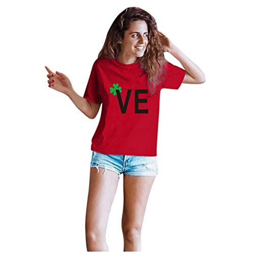 Dasongff T-shirt Klee Partner Look Paar T-shirt St. Patricks Day korte mouwen kostuum basic casual thee bovenstuk top blouses Large rood/dames.