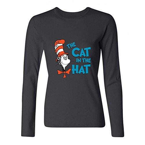 CHENGXINGDA el Gato en el Sombrero de la Mujer Logo Camiseta de Manga Larga