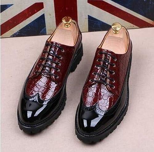 LOVDRAM zapatos De Cuero para Hombre Moda PU Cuero zapatos De Vestir De Los hombres del Dedo del Pie Puntiagudo zapatos Oxfords para hombres con Cordones De Diseño De Los hombres De Lujo zapatos