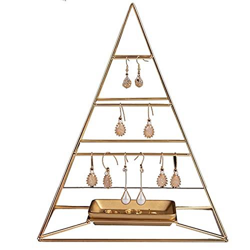 Organizador De Joyas Colgante Piramidal De 3 Niveles Soporte De Exhibición De Joyería De Metal con Bandeja Soporte De Torre Decorativo Estante De Almacenamiento para Pendientes