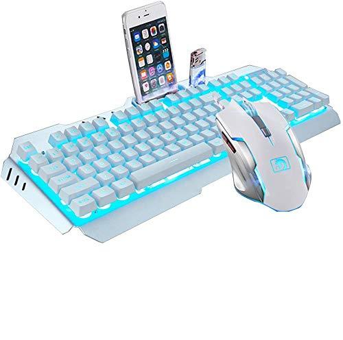 UrChoiceltd Colorful Rainbow LED-Hintergrundbeleuchtung Multimedia Ergonomische USB Gaming-Keyboard mit einem Telefon Halter Und leichter Halter + 2000 DPI optische Gaming Maus für Laptop PC Computer