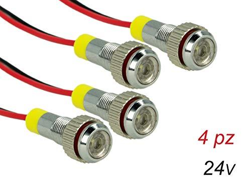 Carall PL0624F 4 stuks mini-schroeven LED-schroef met draad 24 V wit 6000 K lichten voor vrachtwagen boot tractor