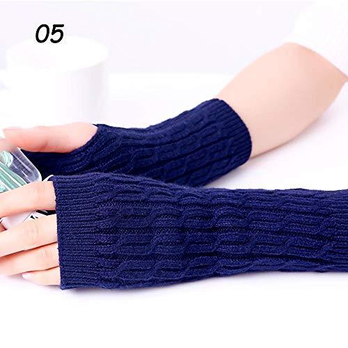 Sparsil Damen Kaschmir Handschuhe fingerlos Winter Häkelhandschuhe Halbfinger Handgelenkset 22 cm Damen elastische warme Handschuhe-05 dunkelblaue Handschuhe_Einheitsgröße