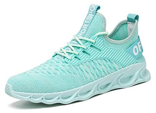 ZKPZYQ Zapatillas de deporte para hombre y mujer, zapatillas de caminar, ligeras, antideslizantes, transpirables, para correr, para correr (44, verde)