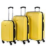 ITACA - Juego de Maletas de Viaje Rígidas 3 Pzs. Set Trolley 4 Ruedas (Cabina + Mediana + Grande) Resistentes y...