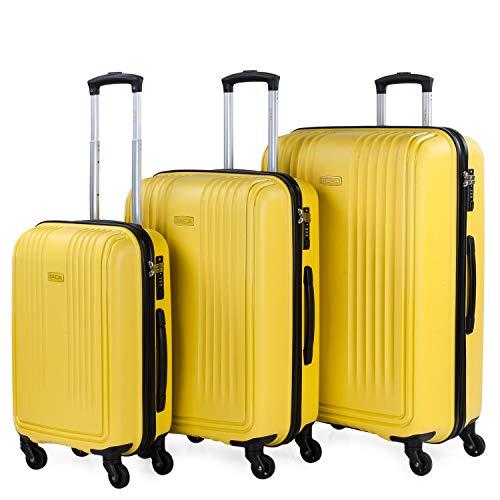 ITACA - Juego de Maletas de Viaje Rígidas 3 Pzs. Set Trolley 4 Ruedas (Cabina + Mediana + Grande) Resistentes y Robustas. Conjunto Equipaje Avión. 760300, Color Mostaza