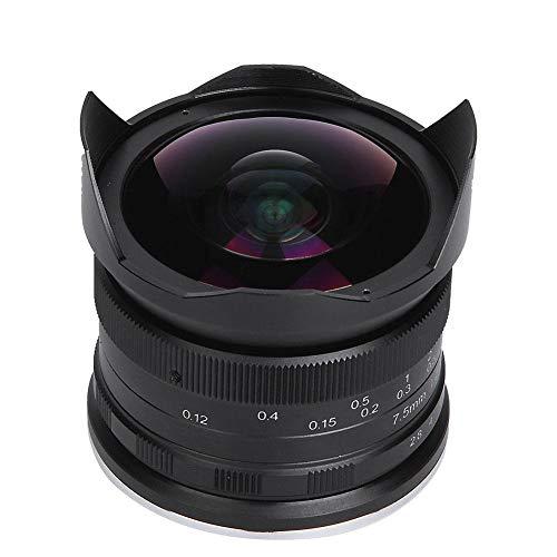 Lente Ojo de pez, 7.5MM F2.8 Lente de cámara sin Espejo Micro Focus Super Wide Angle de 180 Grados, 12 Piezas Blades, Abertura recubierta Multicapa, para Canon para Montaje EOS.M