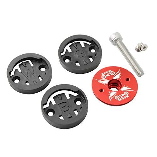 CLISPEED Fahrrad Aluminium Headset Top Cap mit Schraube für MTB Mountain Rennrad Elemnt Roam GPS Fahrrad Computer (Rot)