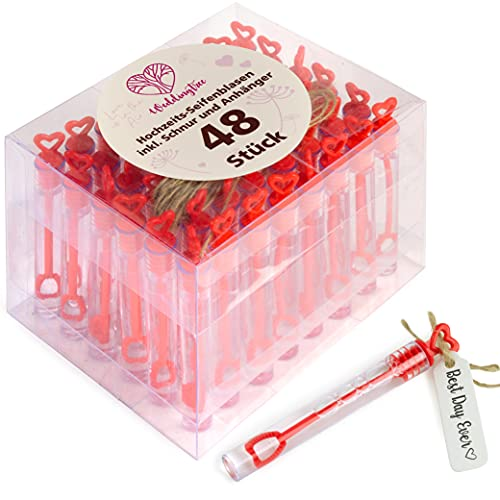 WeddingTree Premium Seifenblasen Set in rot- 48 teilig mit Herzgriff - herzallerliebst für Hochzeit Taufe Geburtstag Goldene Hochzeit Verlobung Valentinstag Gastgeschenk...