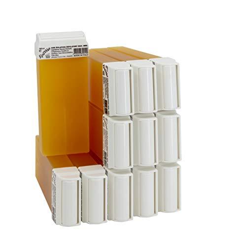 EpilWax Wachspatronen Set mit 12 Honig Warmwachspatronen zur Haarentfernung Enthaarungswachs 100 ml Roll-on Nachfüller