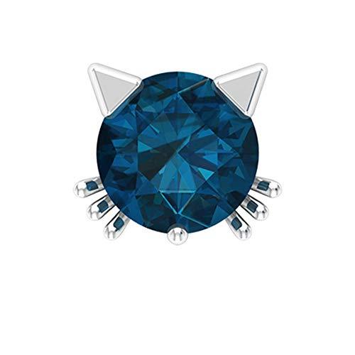 Rosec Jewels 18 quilates oro blanco redonda Blue Topacio azul - Londres