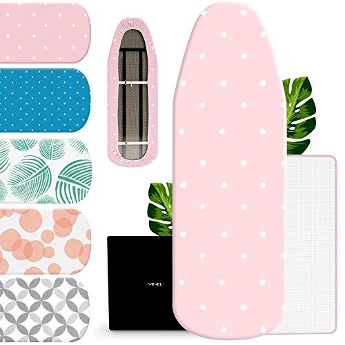 VINEL® Bügelbrett Bezug 120 x 40 für Dampfbügeleisen (100{3f5b4ebd66d571339a97e91027cff84b2749e2629779aaee37a3ab764b6e67c6} Baumwolle, Komfort Polster) Buegeltisch 125x45, Bügeltisch Bezug für Dampfstation - XL Bügelunterlage 120x38 mit Bügelschutztuch - Pink Rosa
