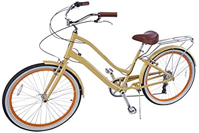"""sixthreezero EVRYjourney Women's 26"""" 7-Speed Step-Through Touring Hybrid Bike w/Integrated Cable Lock, 26"""" Bicycle, Cream with Brown Seat and Brown Grips"""