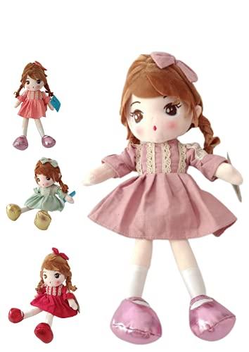 Muñeca de Trapo de Suave Textura para Las niñas, 40 cm de Alto (Colores ALEATORIOS) Practico y fácil de Lavar acompañante de Paseo y de Juegos para Las niñas
