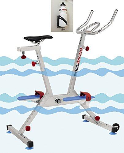 POOLBIKING One Plus + Kit Portaborraccia, aquabike, aquabiking, Bicicletta per Spinning aquático.