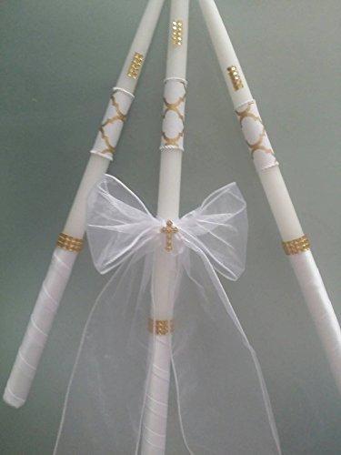 Greek Orthodox Baptism Candles Lambada Christening Gold & White Wedding