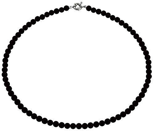 inSCINTILLE Collar de Perlas para Mujer con Cierre de Plata (Negro, 0.4)