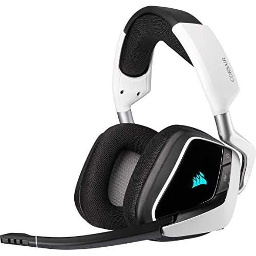 Corsair VOID ELITE Wireless Cuffie Gaming con Microfono, Audio 7.1 , Wireless 2.4 GHz a Bassa Latenza, 12 metri di portata, Personalizzabili Illuminazione con PC, PS4 Compatibilità, Bianco
