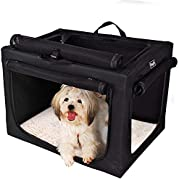 """Petsfit Portable Soft Dog Crate Travle Dog Crate for Small to Medium Dog Soft Sided Pet Crate Black24 x 18"""" x 17"""""""