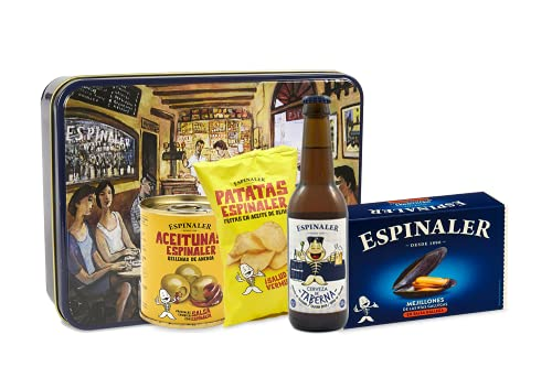 Espinaler cesta gourmet aperitivo | Pack regalo con cerveza artesana taberna, patatas fritas, aceitunas rellenas de anchoa y mejillones en salsa gallega en caja para regalar vintage