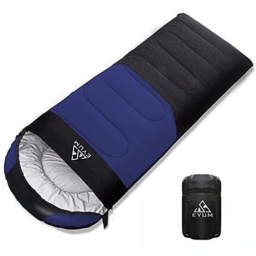 EYUM 寝袋 シュラフ 封筒型 軽量 超暖かい 210T防水 コンパクト 簡単収納 車中泊 防災用 アウトドア キャンプ 丸洗い可能 収納袋付き 1KG/1.4KG 快適温度-5℃-25℃ 春夏秋冬の使用可能