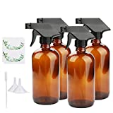 Empty Spray Bottles, Maredash Amber Glass Bottle With Labels & Lids, Refillable Container for Water, Essential Oils, Cleaning Products, Two kinds Lids are available for replacement (16 oz, 4 Pcs)