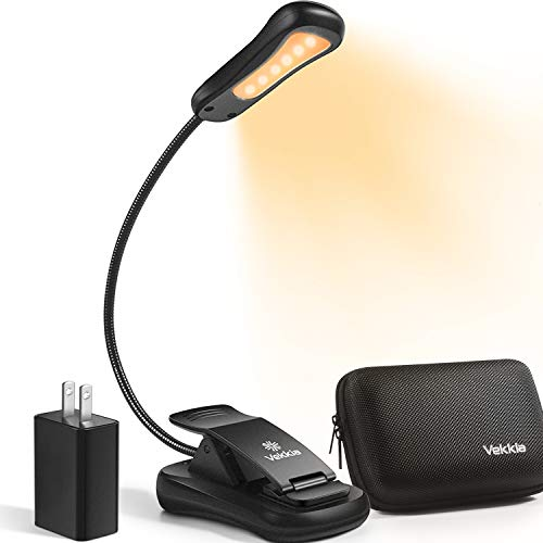 Vekkia Book Light Set with Charger, Clip on Reading Light in Bed with 3 Brightness, Up to 60 Hrs, Rechargeable, Eye-Care Warm LED for Read Before Bed. Perfect Gift Choice(Incl Travel Case, Cable)