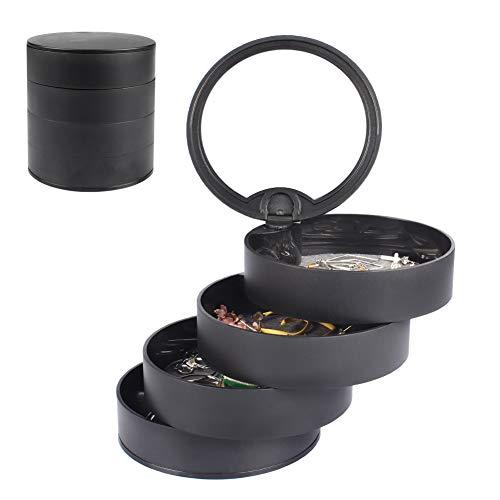 Pulchram Joyero con espejo, joyero, organizador para mujer, 4 niveles, almacenamiento de joyas, giratorio 360 grados, joyero para anillos, pendientes, collares (negro)