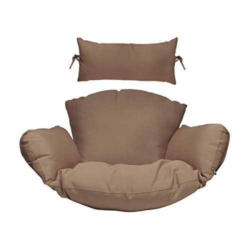 Hanging Chair Deep Seat Cushion Set Included Headrest and Armrest - Outdoor Porch Backyard Patio Hammock Swing Furniture Replacement Cushions (Coffee)