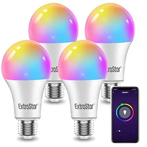 EXTRASTAR 4 Pack Bombilla Alexa LED Intelligente E27, 10W, Regulable Multicolor + Luz Cálida o Blanca, 16 Millones de Colores, Funciona con Alexa y Google Home