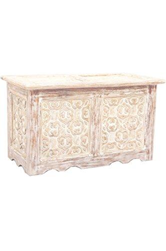 Orientalische Truhe Kiste aus Holz Ceyda 80cm groß in Weiß   Vintage Sitzbank mit Aufbewahrung für den Flur   Aufbewahrungsbox mit Deckel im Bad   Betttruhe als Kissenbox oder Deko im Schlafzimmer