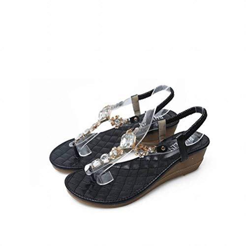 Women Sandals Occasionnels Sandales Simples Strass Open Toe Bohème Femmes, Black, 35