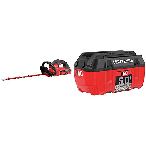 Best Review Of Craftsman V60 Cordless Hedge Trimmer, 24-Inch (CMCHTS860E1) and V60 Battery, 5.0 Ah L...