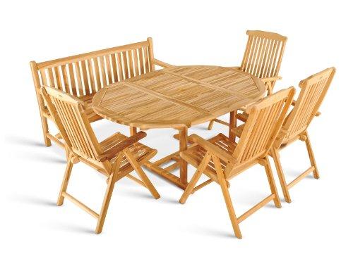 SAM 6tlg. Gartengruppe Borneo, Teak-Holz Gartenmöbel, 1 x Ausziehtisch Borneo + 4 x Hochlehner Aruba + 1 x 3er Gartenbank Caracas