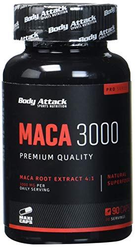 Body Attack Maca 3000 - Macawurzelextrakt - 3000mg hochdosiert - 90 Kapseln, 1er Pack (1 x 105 g)