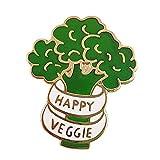 wangk Glücklich Veggie Pin Brokkoli Abzeichen Vegan Essen Brosche Pefect vegetarisches Geschenk