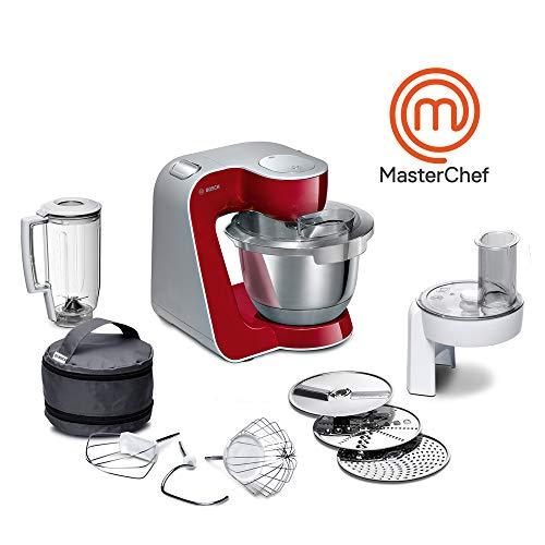 Bosch MUM58720 Macchina da Cucina, Acciaio Inossidabile, 1000 W, 3.9 Litri, Inox e Plastic, 7 velocità, Grigio/Rosso