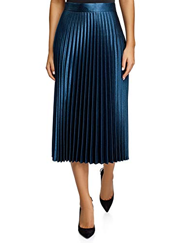 oodji Collection Mujer Falda Plisada Larga, Azul, ES 40 / M