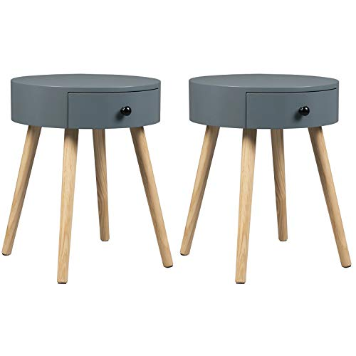 WOLTU Nachttisch 2er Set Nachtkommode Nachtschrank Beistelltisch Sofatisch, mit Schublade, mit Beinen, Holz, MDF, Grau, 38x38x48cm(BxTxH), TS51gr-2