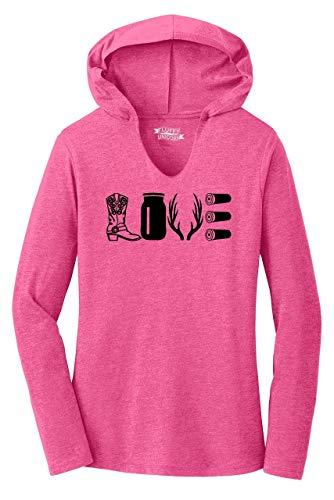 Ladies Hoodie Shirt Love Hunting Shirt Cute Hunter Country Redneck Gift Tee Fuchsia Frost XL