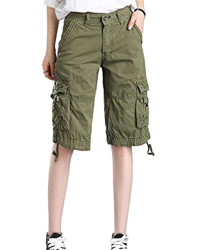 Minetom Bermuda Cargo Shorts Damen Knielang Sommer Kurze Hose Frauen Lose Stretch Boyfriend Knopfleiste Tasche Stoffhose Leinenhose Freizeithose Große Größen Armeegrün Medium