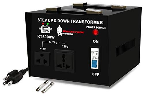 ROCKSTONE POWER 5000 Watt Voltage Converter Transformer - Heavy Duty Step Up/Down AC 110V/120V/220V/240V Power Converter - Circuit Breaker Protection – DC 5V USB Port - CE Certified [3-Year Warranty]