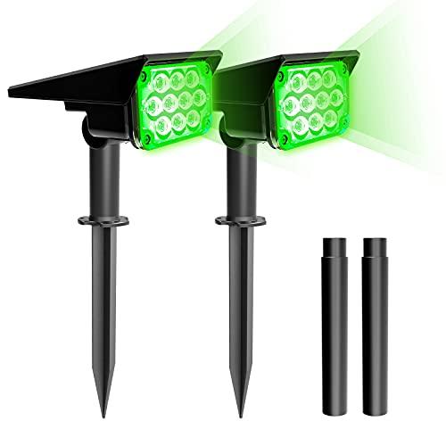 T-SUN 2 Pack Luces Solares Exteriores, Impermeable IP65 Jardín Lámpara de Camino de Paisaje LED Luz Verde, Iluminación Decorativa Solar Para Porche Patio Césped Pasillo Terraza Camino. (GREEN-2PACK)